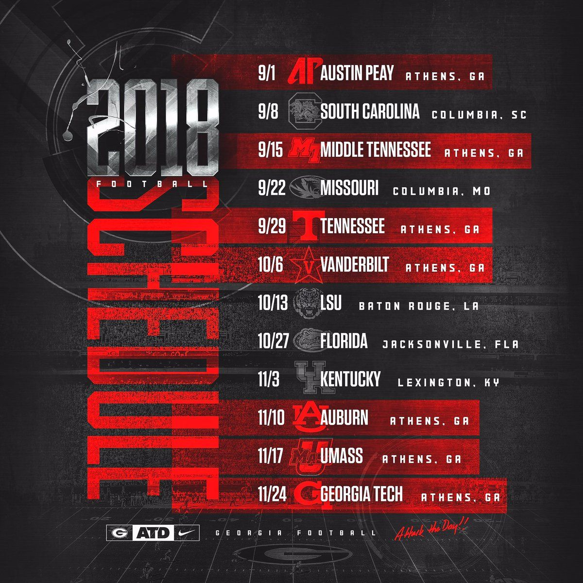 ga bulldog football schedule 2017 georgia bulldogs 2018 football schedule football 9973