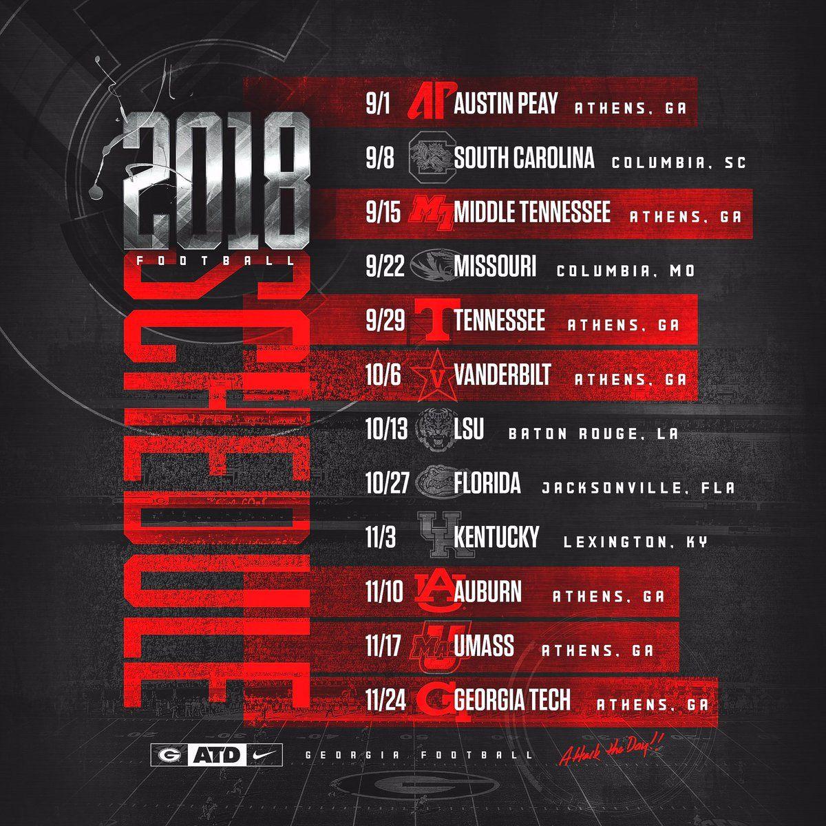 georgia bulldogs 2018 football schedule | football!!! | georgia