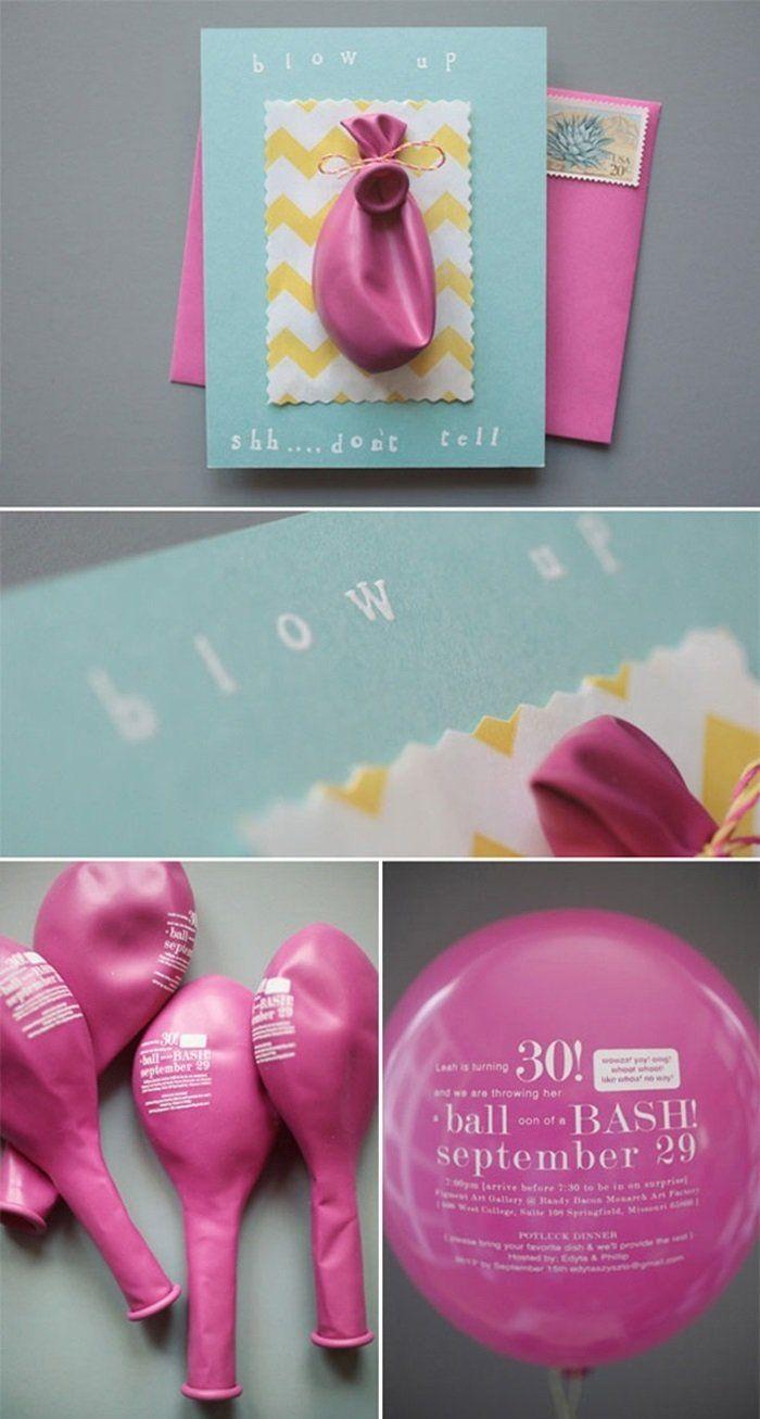 Einladungskarte zur Hochzeit mit Luftballon zum Blasen