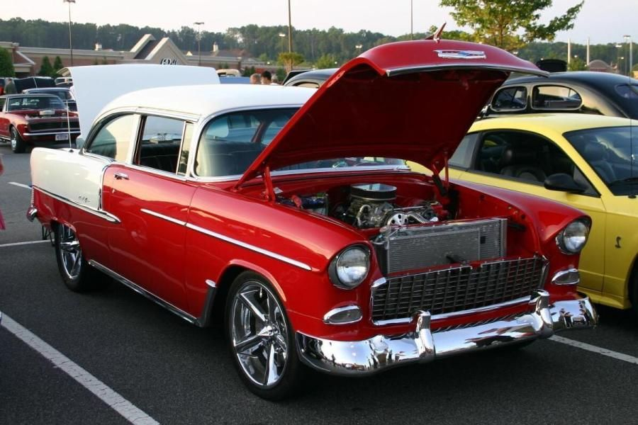 Modified 1955 Chevy Belair Red And White 1955 Chevy Chevy 55 Chevy