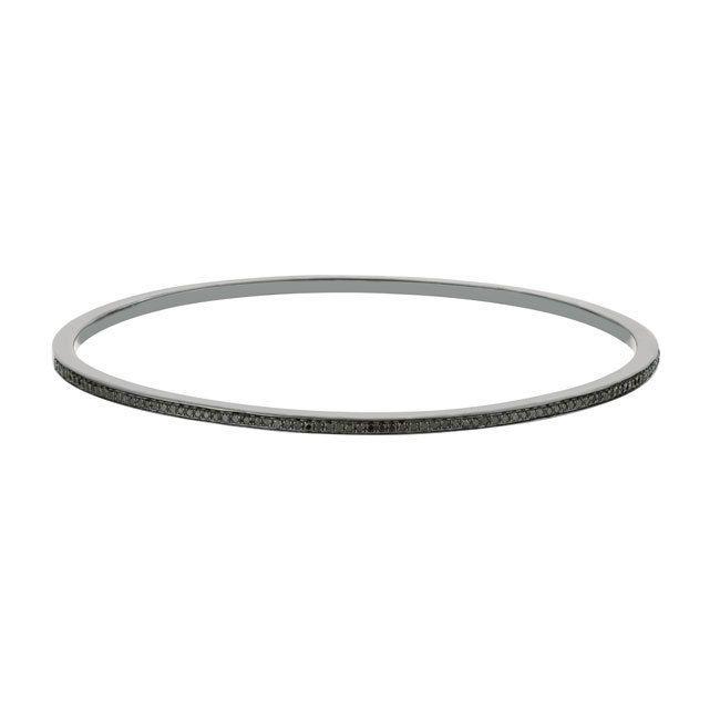 Sterling Silver 1/2ct TDW Black Diamond Stackable Slip-on Bangle Bracelet