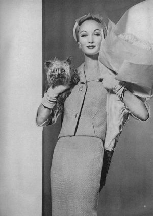 January Vogue 1959 Suit by Jablow of British woollen tweed. Photographed by Karen Radkai.