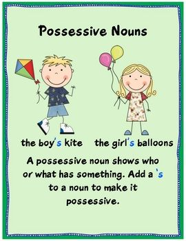 Possessive Nouns pack - Swimming into Second - TeachersPayTeachers ...