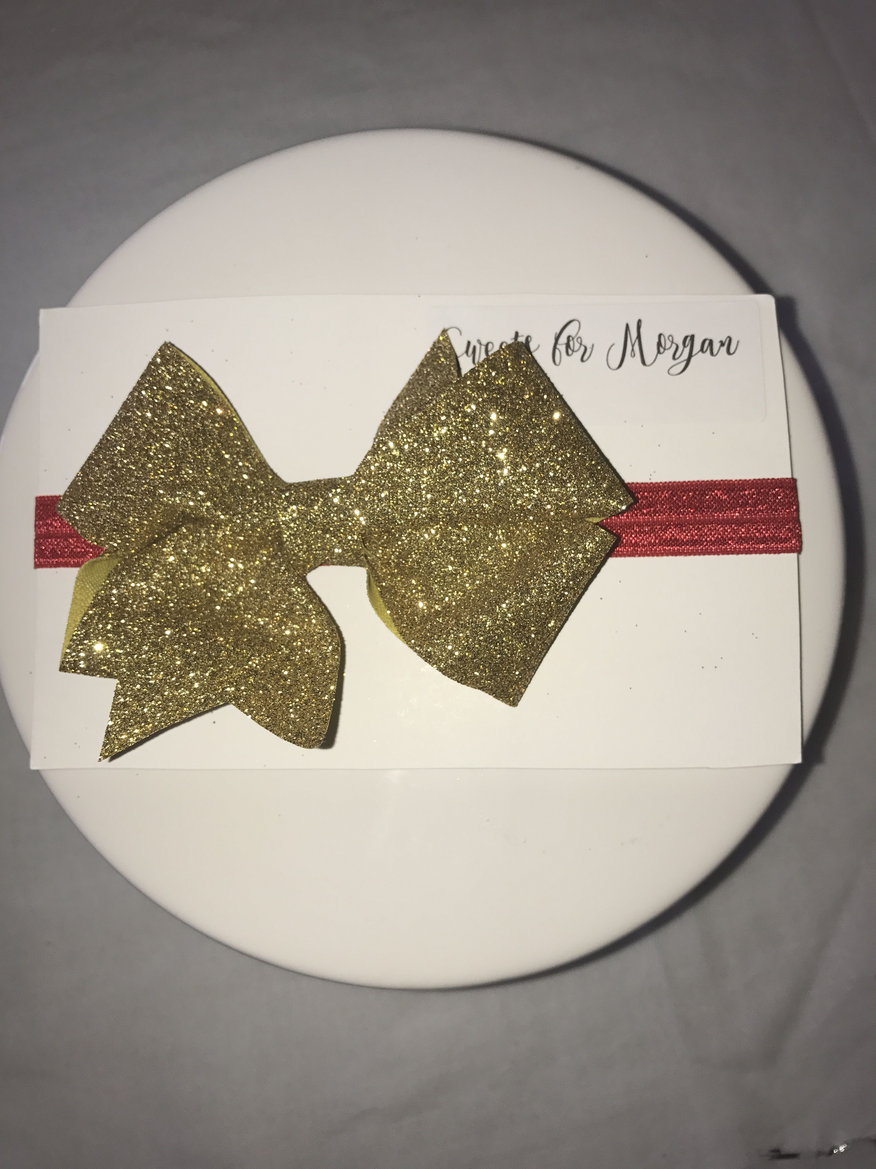 or Nylon ~ Gold /& Silver Sparkle Bow ~ Available on Glitter Headband Clips Nylon