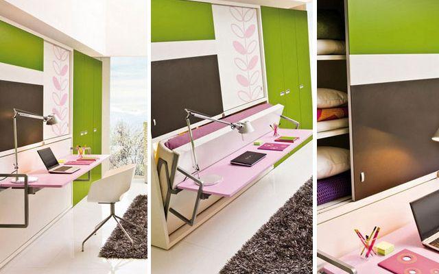 Cama escritorio mueble multifuncional multifunctional - Escritorios para espacios reducidos ...