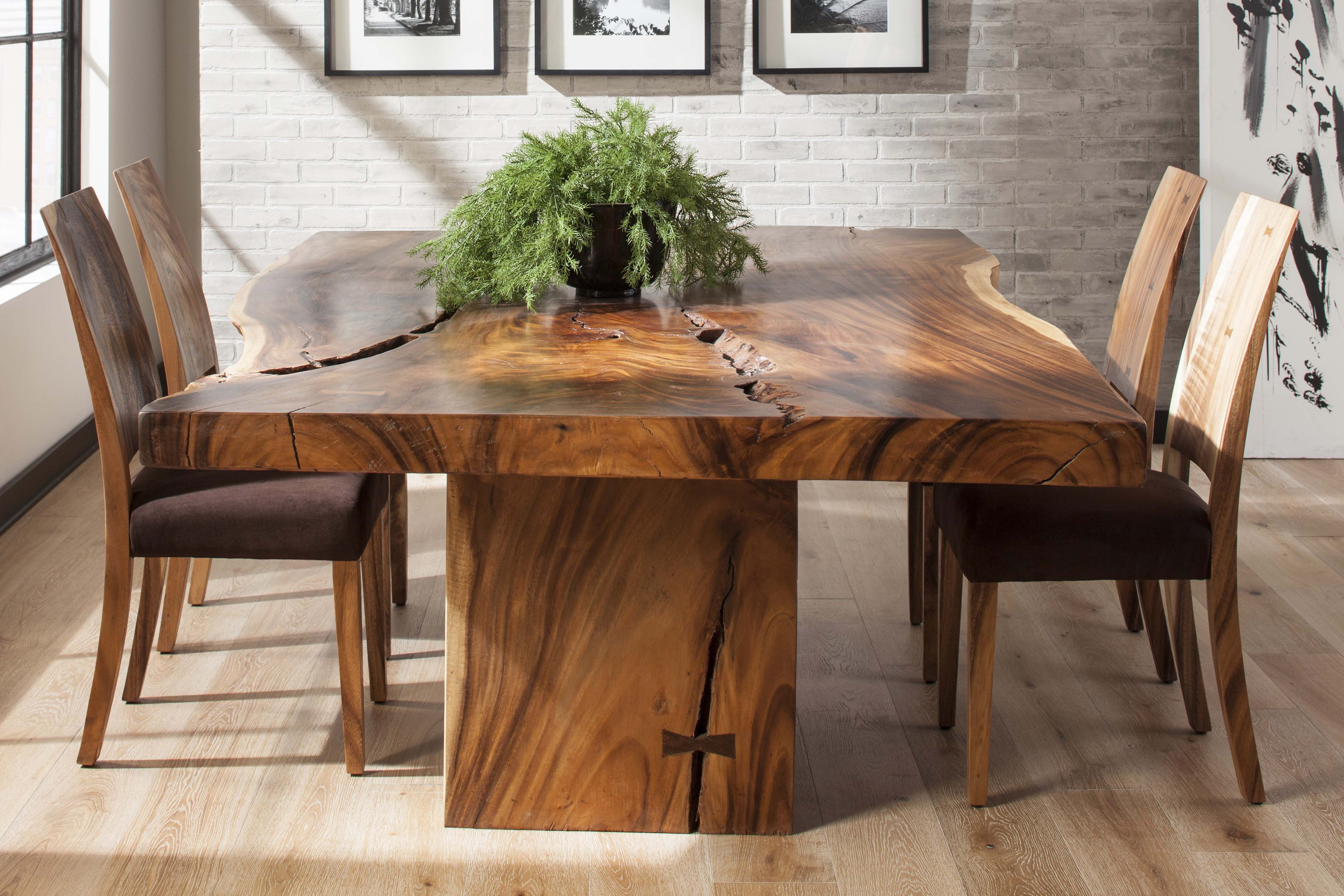 Chamcha Wood Dining Table Natural Finish Transforming The