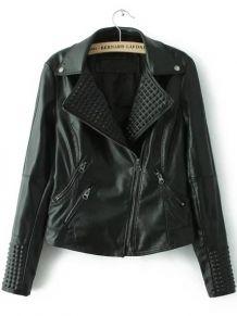 Black Lapel Oblique Zipper PU Moto Jacket