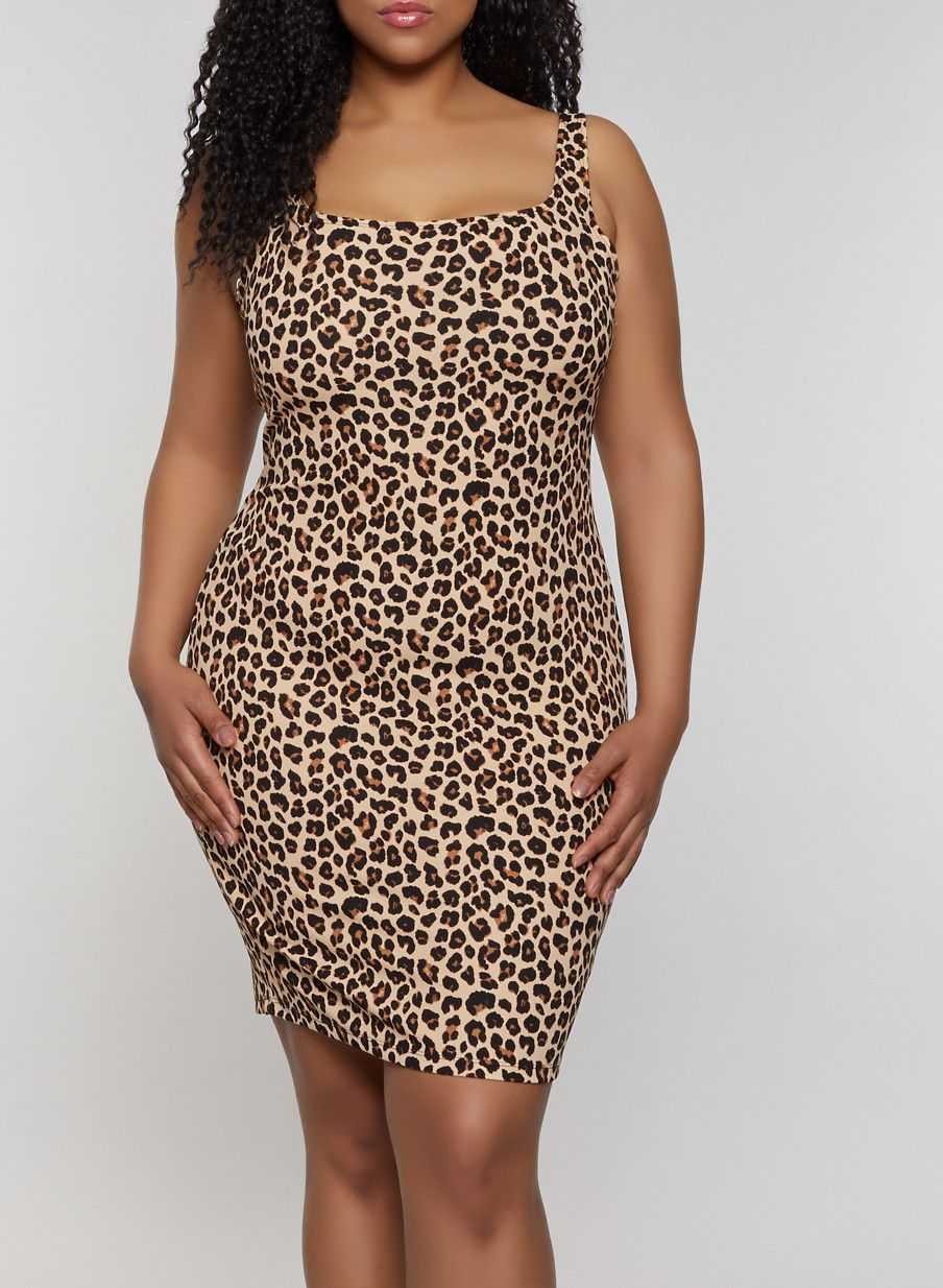 Plus Size Leopard Print Tank Dress - Brown - Size 3X in 2019 ...