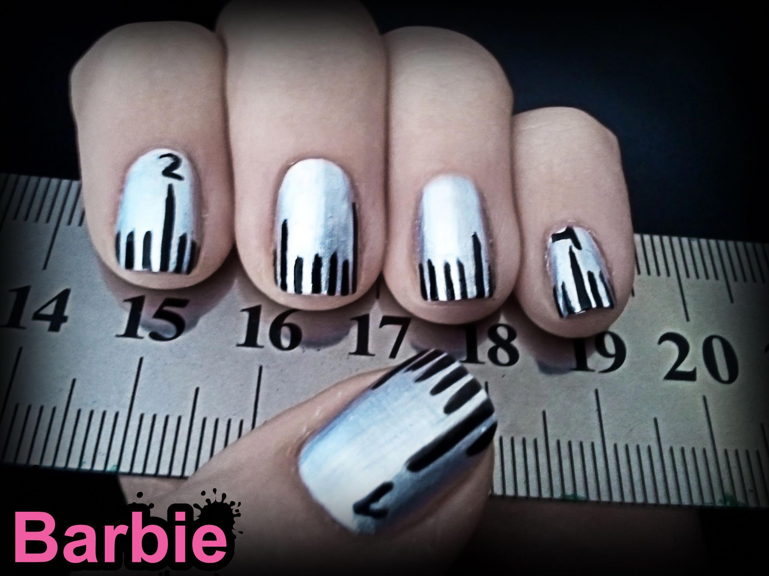 Ruler Nails Nail Design That Simulates A Metal Ruler Maybe It Turns Out Real Handy Geeknailsdesign Nail Designs Nails Nail Art Tutorial