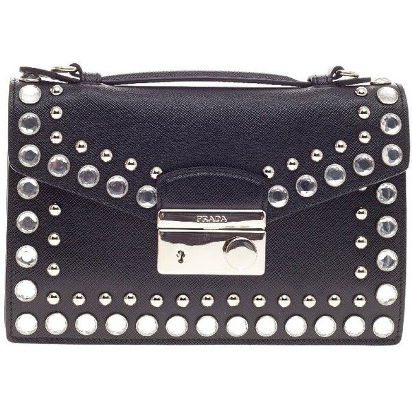 a56d80f20 Pre-Owned Prada Convertible Sound Bag Studded Saffiano Leather Mini ($920)  ❤ liked