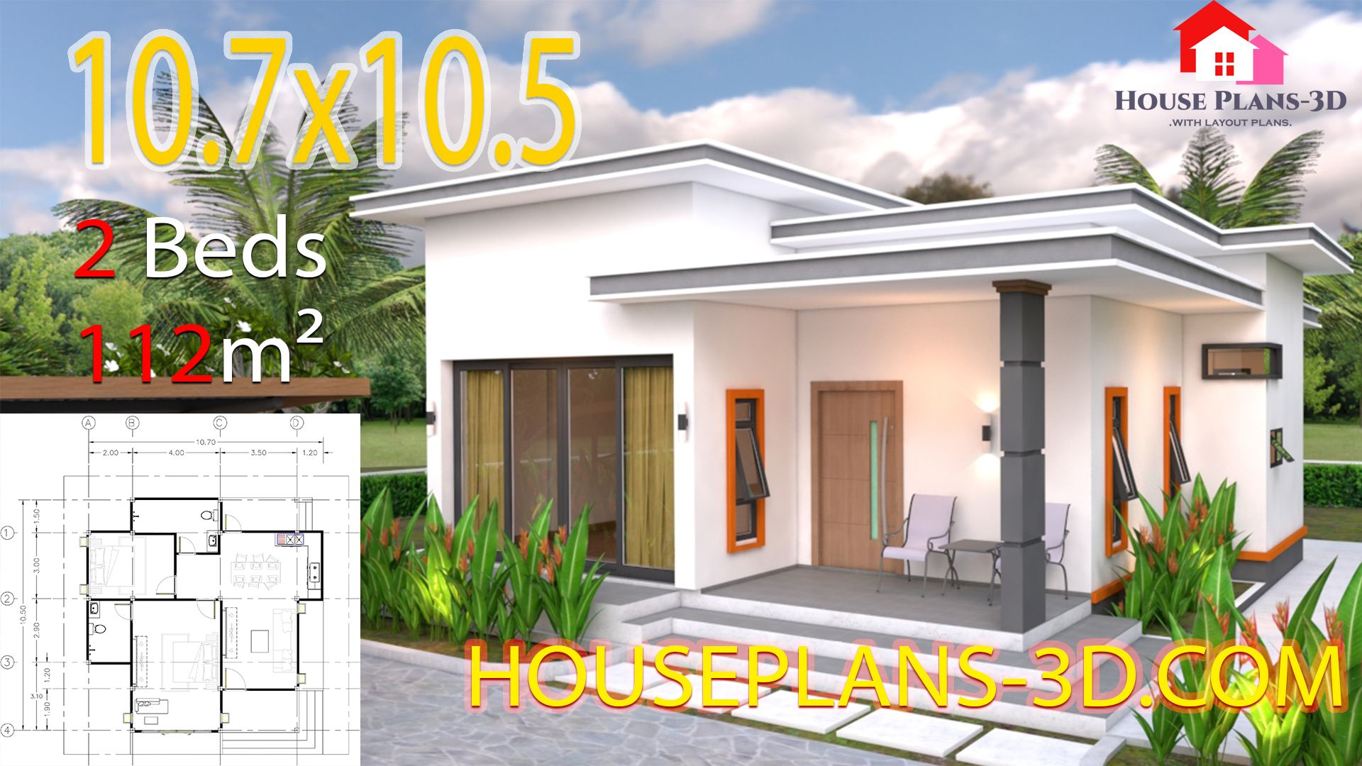 House Plans 10 7x10 5 With 2 Bedrooms Flat Roof The House Has Car Parking And Garden Living Room Dining Room In 2020 House Plans Small House Design Plans House Roof