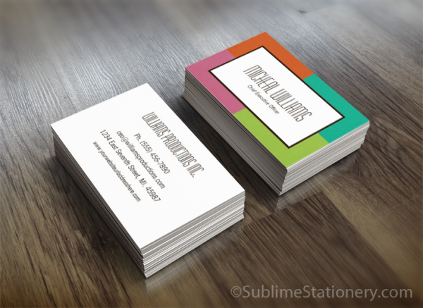 groupon color block ceo company business cards trendy and chic