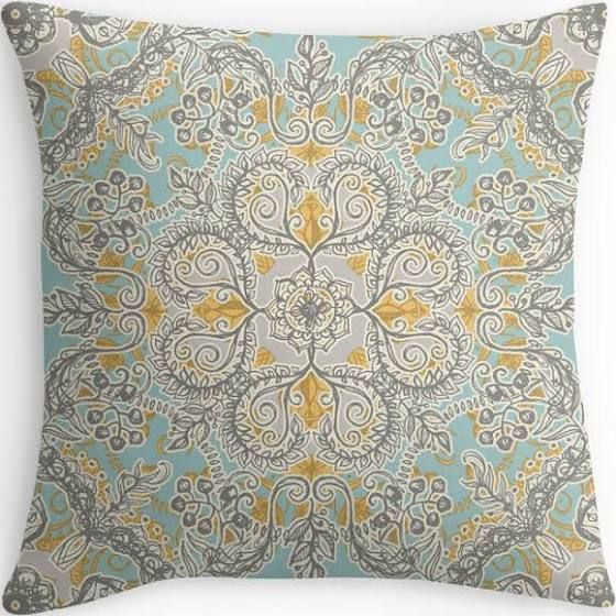 teal yellow and grey cushions