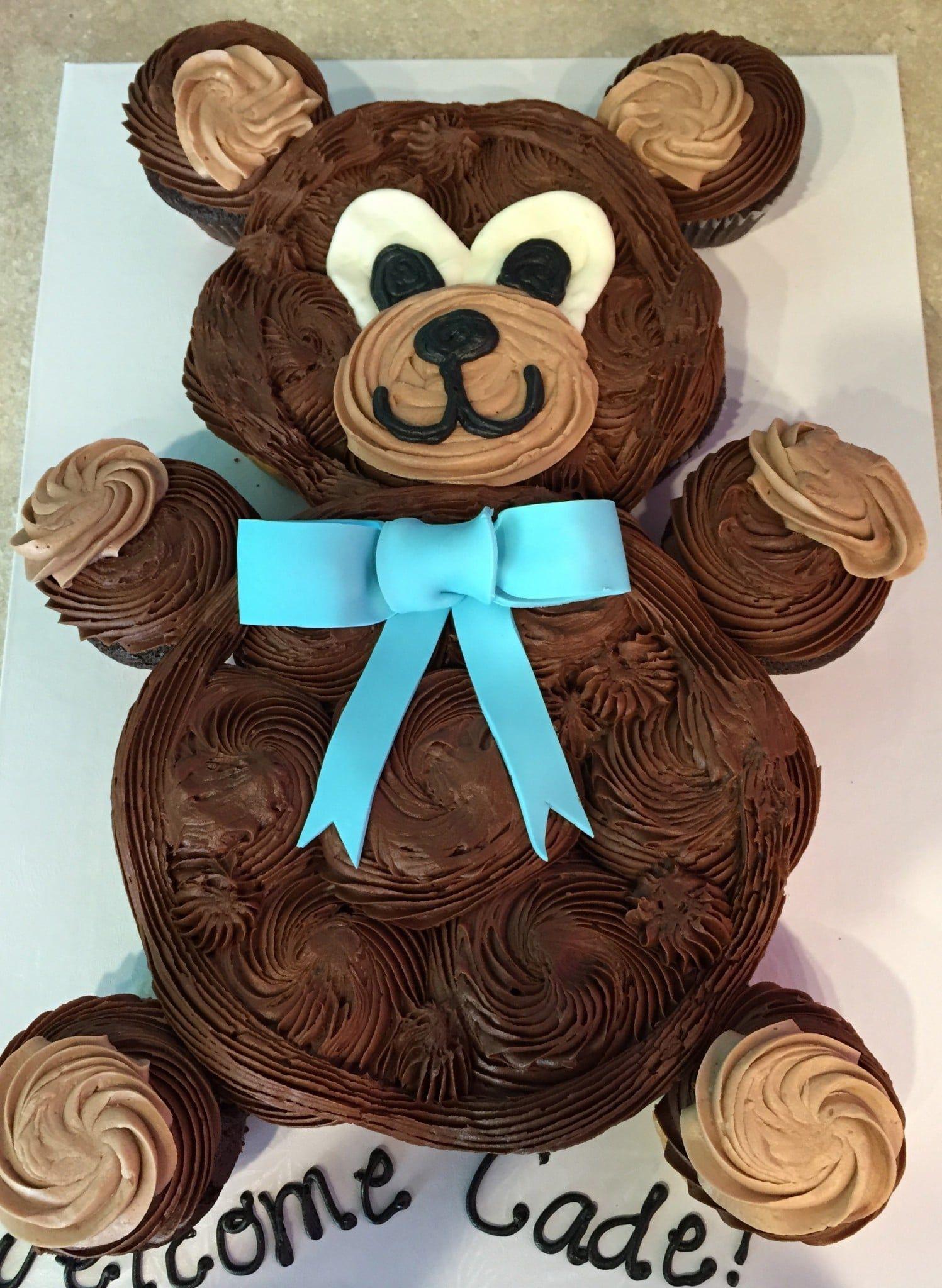Cupcake Cakes In 2019 Teddy Bear Baby Shower Teddy Bear