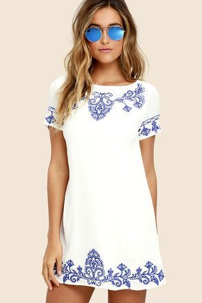 Tale to Tell Blue and Ivory Embroidered Shift Dress 1 #casualshortdress