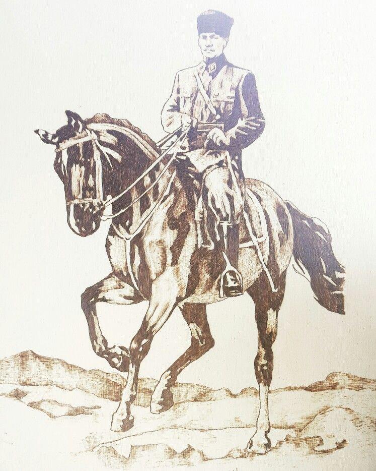 At Uzerinde Ataturk Calismasi Tablolar Sanat Heykeller Sanat