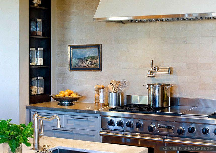 Long Subway Beige Limestone Kitchen Backsplash Tile Design With