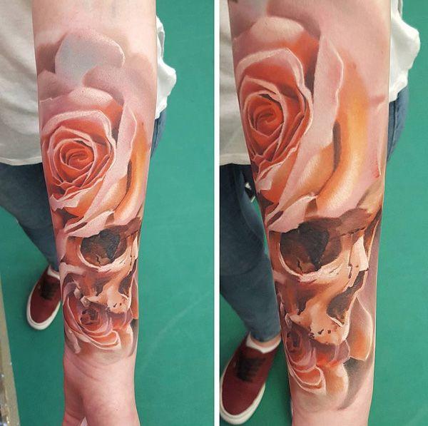 120 meaningful rose tattoo designs skull sleeve tattoos skull sleeve and rose tattoos. Black Bedroom Furniture Sets. Home Design Ideas