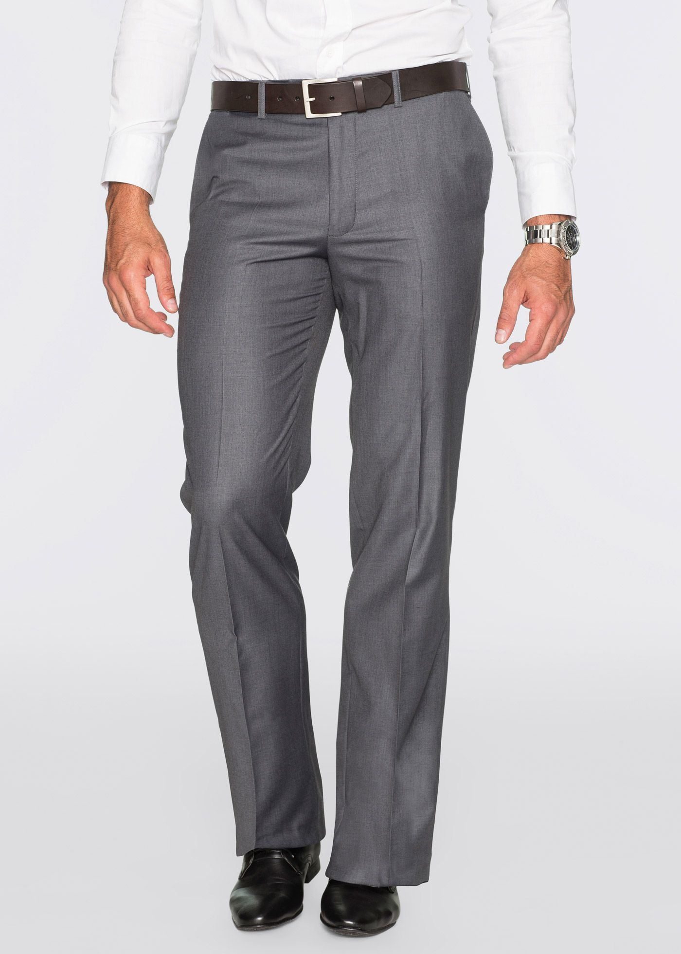 Baukasten-Hose, Regular Fit Straight, bpc selection, grau meliert