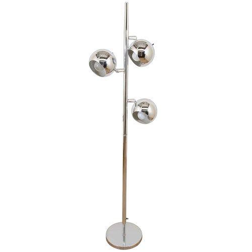 Mid Century Chrome Floor Lamp With Three Pivoting Half Globe Shades Chrome Floor Lamps Floor Lamp Chrome Lamp