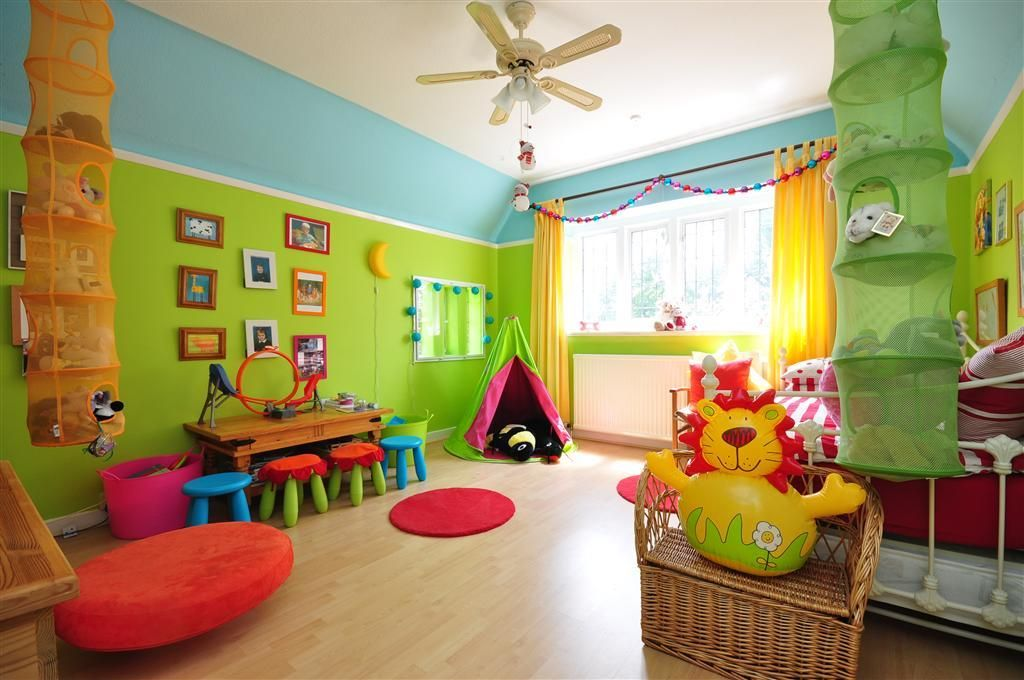 Photo Of Beige Blue Green Orange Red Yellow Bedroom
