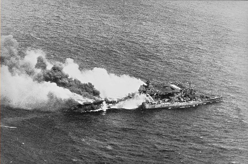 The U.S. aircraft carrier USS Franklin (CV-13) pictured ...