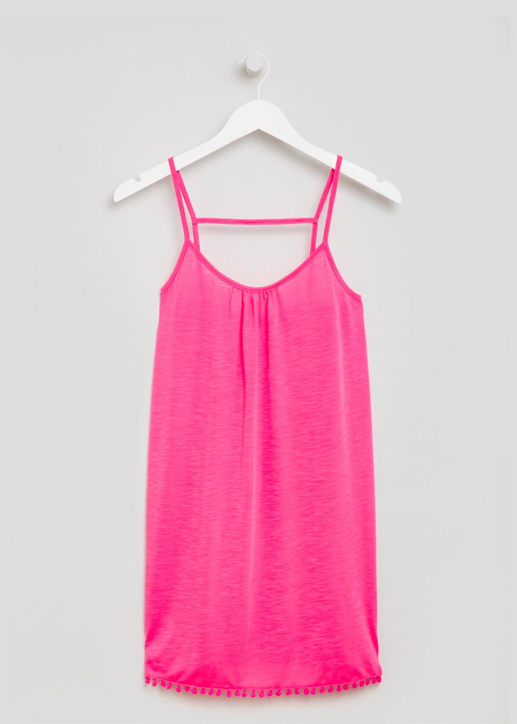 Pom Pom Swing Vest Beach Dress Pink Beach dress, Pink