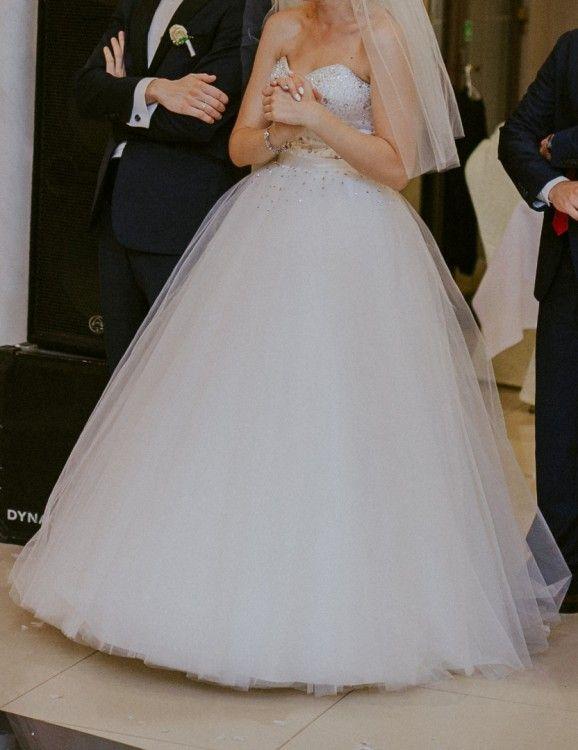 Suknie Bajeczna Suknia ślubna Księżniczka śmietanka Ivory 2