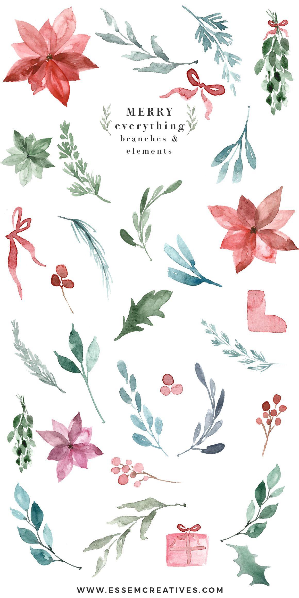 Photo of Watercolor Christmas card template, Christmas wreath clipart, mistletoe