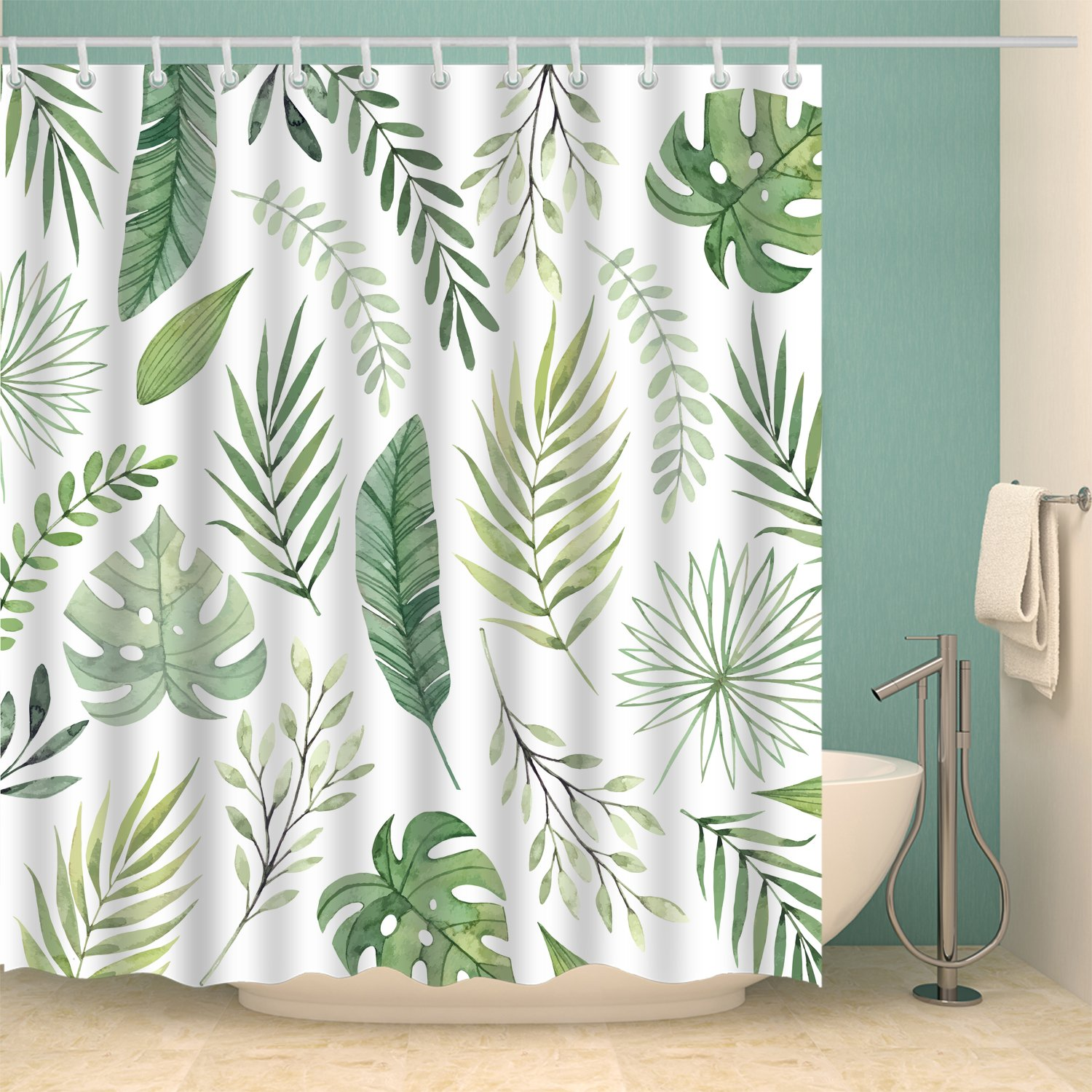 Summer Tropical Seamless Green Palm Floral Leaves Shower Curtain In 2020 Green Shower Curtains Cute Shower Curtains Printed Shower Curtain