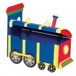 An awesome train toy chest to stash all his toys in!
