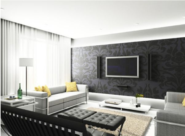 parede da tv com papel de parede
