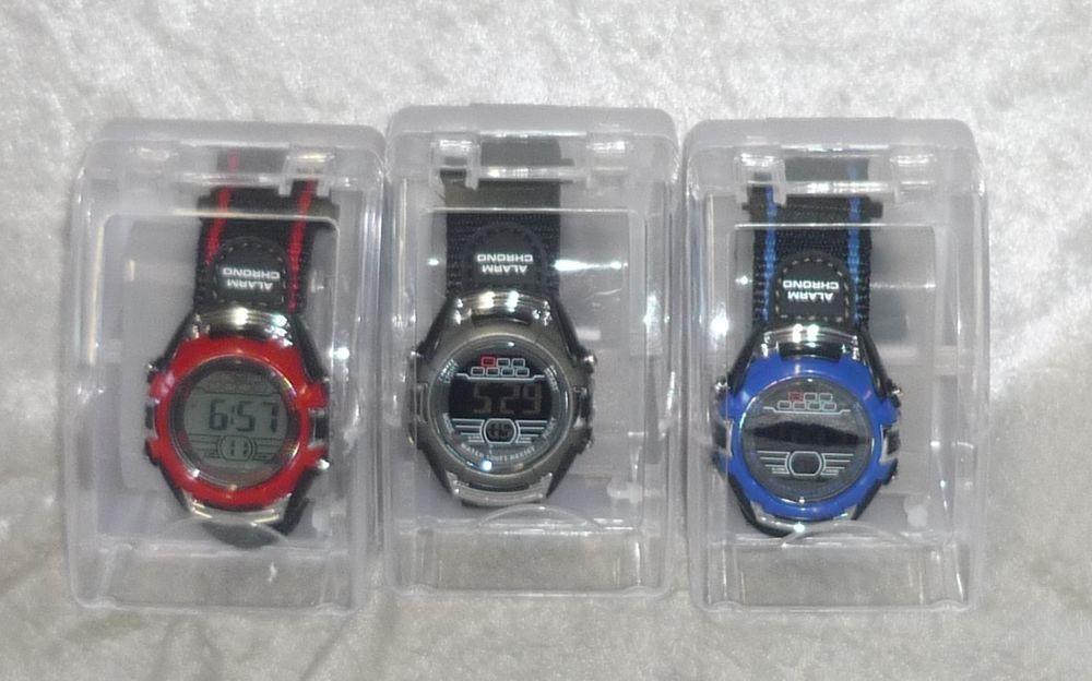 Men's watch digital chronograph day date alarm light