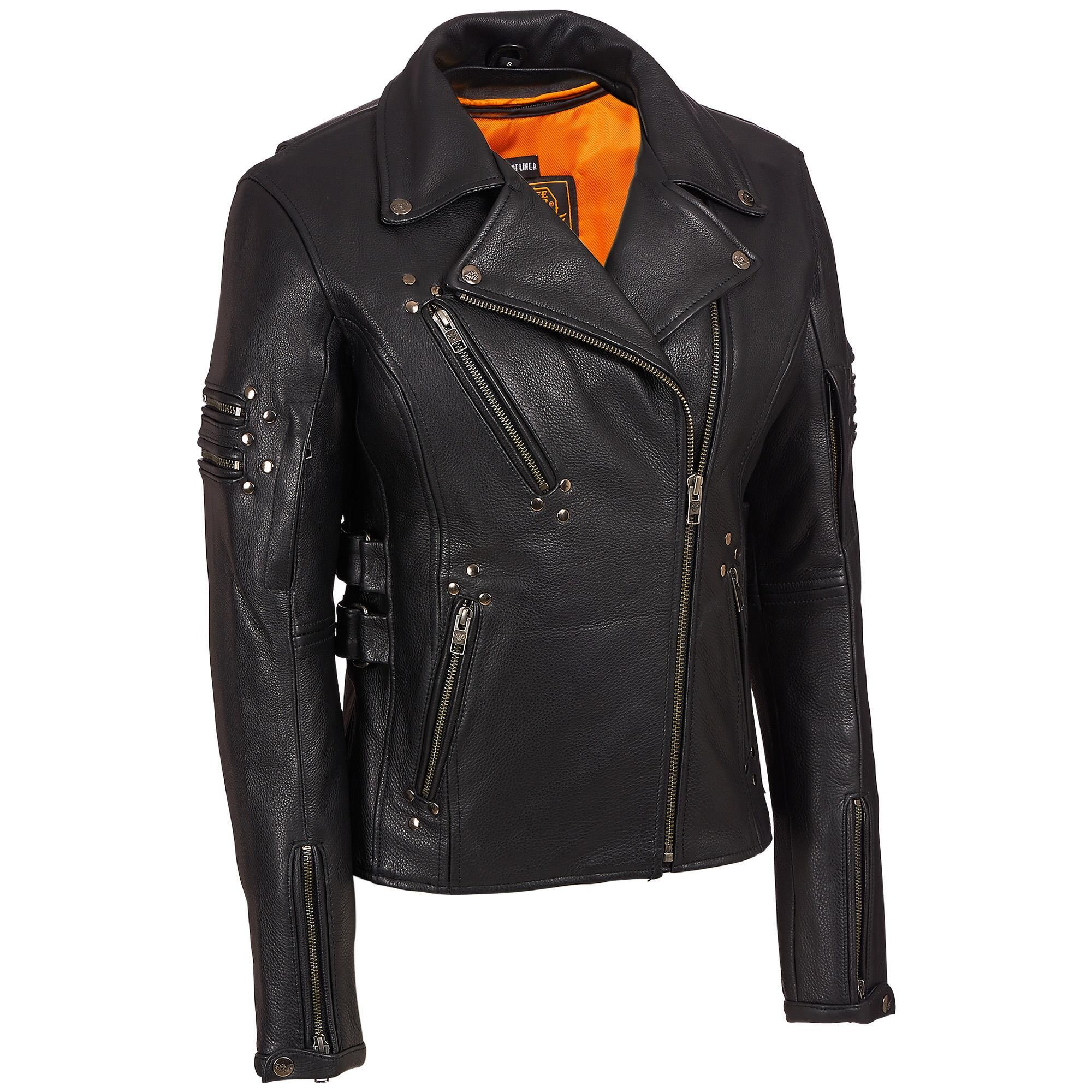 Milwaukee Leather Asymmetric Leather Biker Jacket w/Stud