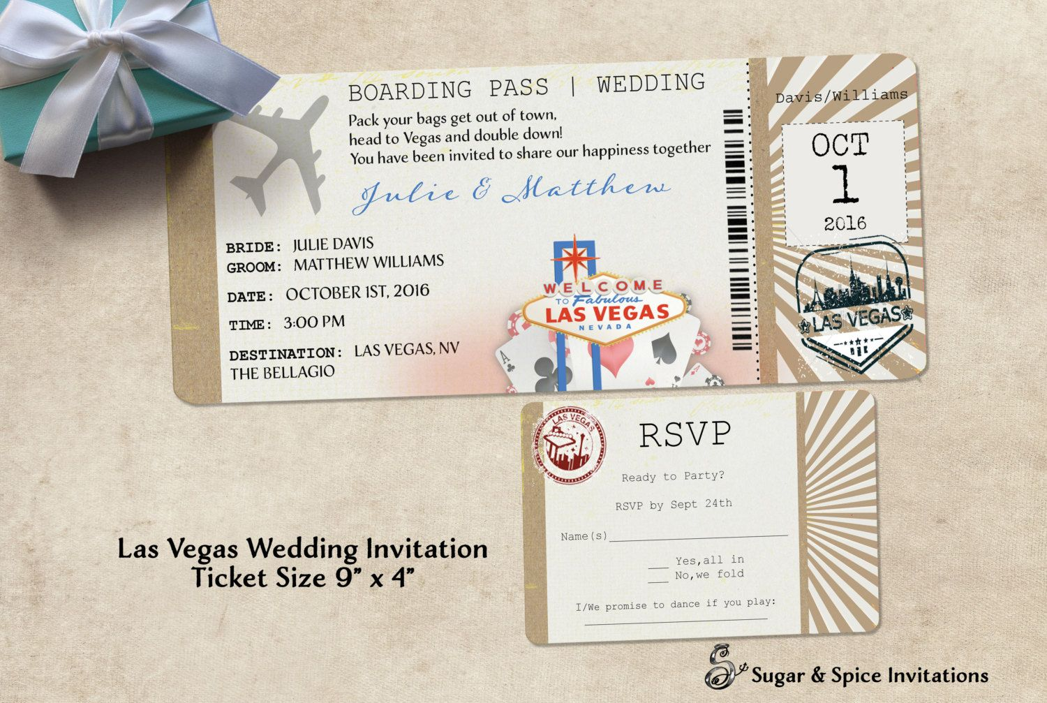 Las Vegas Wedding Invitation Ticket By