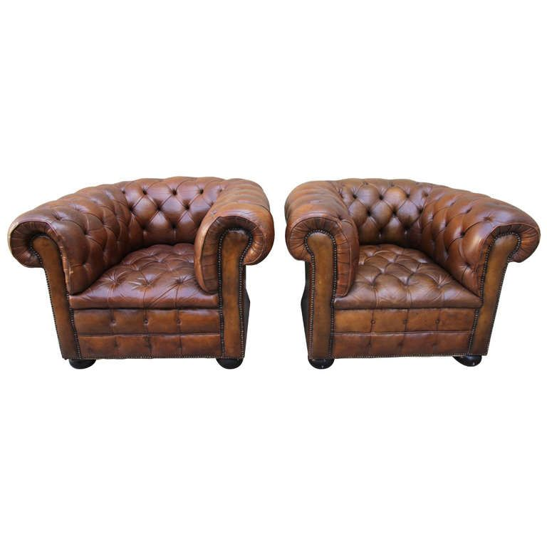 Pair of Vintage Leather Tufted Chesterfield Armchairs ...