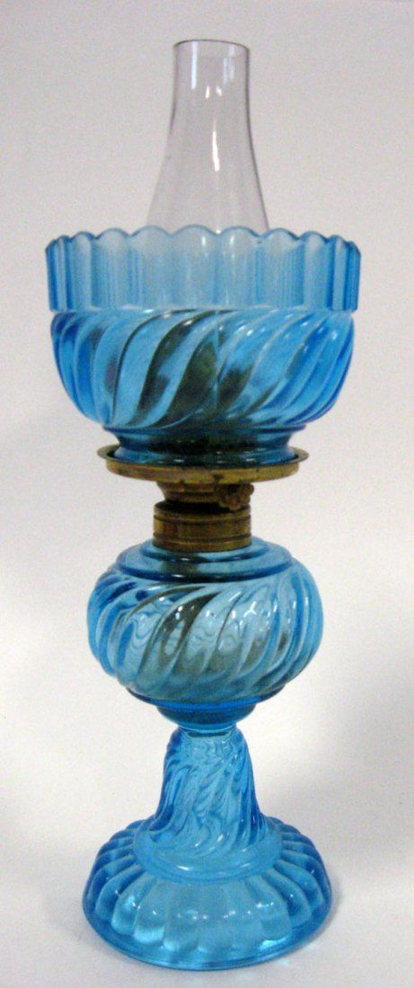 Lot:398: Two miniature oil lamps. Blue swirl base and a blu, Lot Number:398, Starting Bid:$20, Auctioneer:DeFina Auctions, Auction:398: Two miniature oil lamps. Blue swirl base and a blu, Date:05:30 AM PT - Oct 14th, 2012