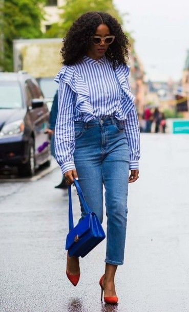 5218021cfa30f Shirt  ruffle ruffle blue long sleeves stripes striped denim jeans blue  jeans all blue outfit all