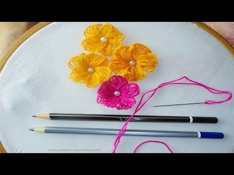 Hand Embroidery amazing Trick 9, Sewing Hack with Wood Pencil,super easy... #makeflowers
