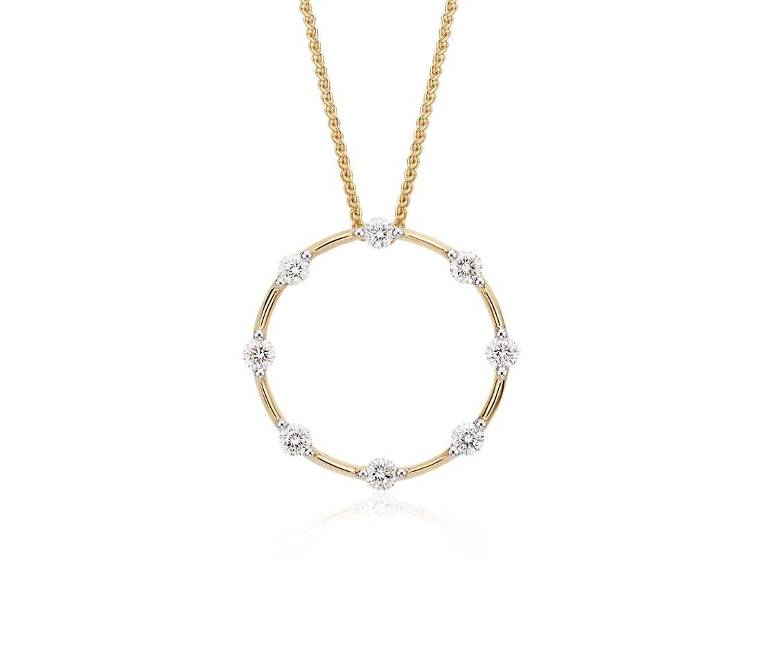 Blue Nile Studio Diamond Circle Pendant In 18k Yellow Gold 1 2 Ct Tw Blue Nile Diamond Circle Pendant Circle Diamond Circle Pendant