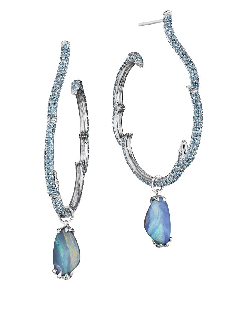 Couture ZoZo Opal and Blue Diamond Hoop Earrings