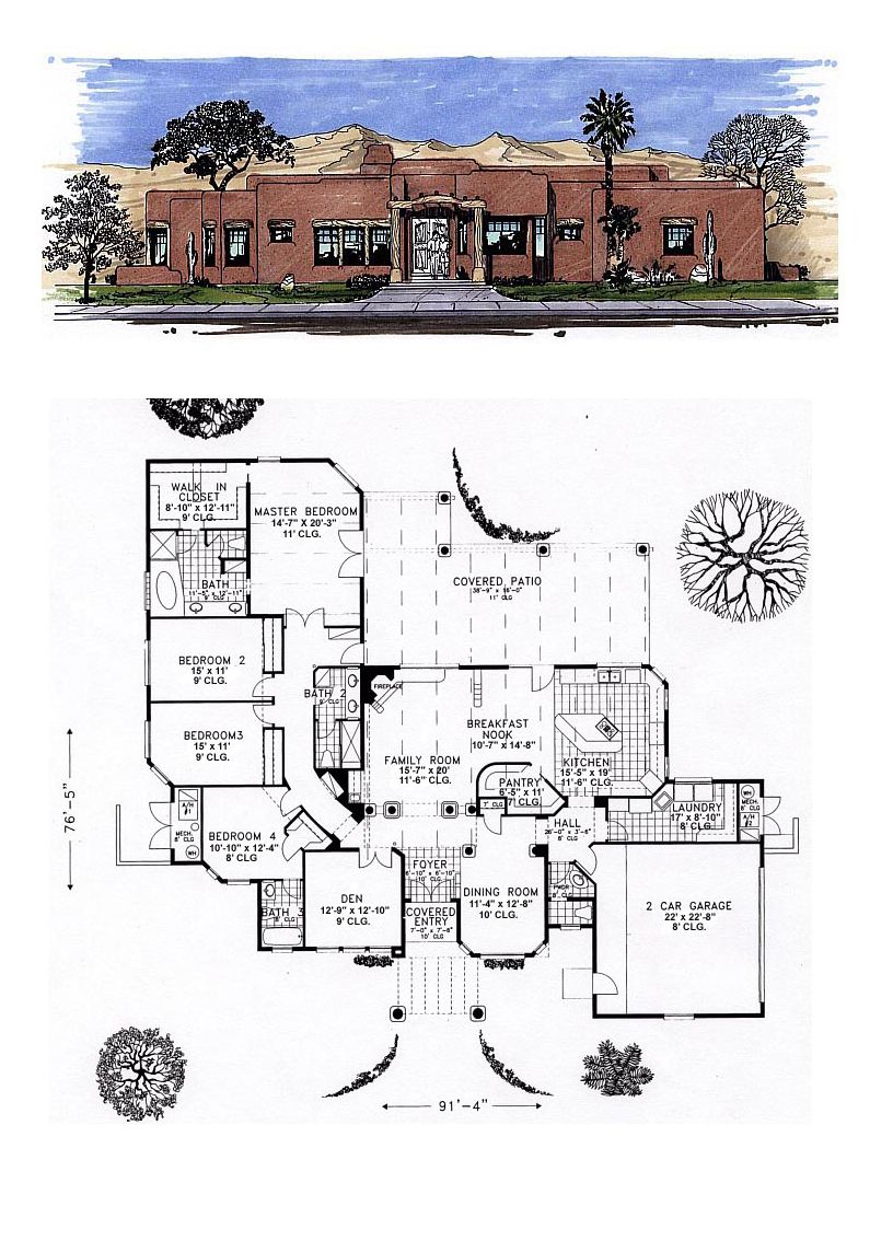 Santa Fe Southwest House Plan 54648 | Santa fe, Fe and Santa