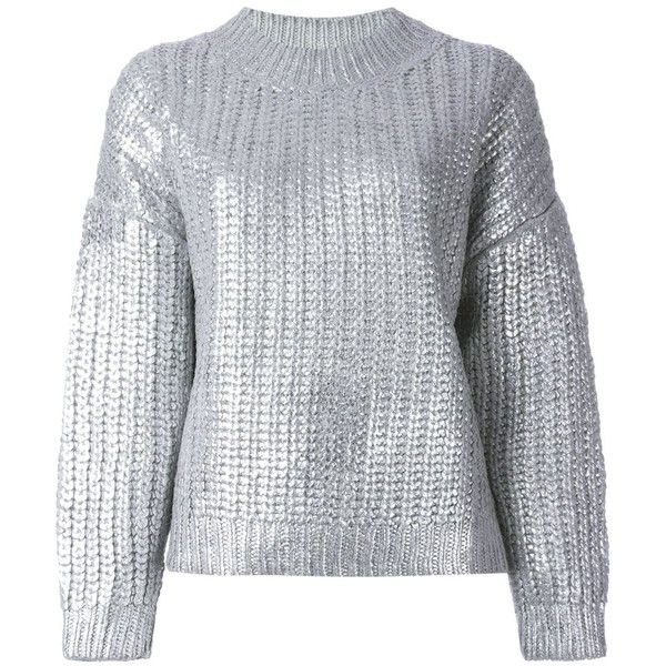 DKNY Metallic Ribbed Sweater (€680) ❤ liked on Polyvore featuring tops, sweaters, jumper, shirts, metallic, gray sweater, cuff shirts, long sleeve shirts, crew-neck sweaters and grey crewneck sweater