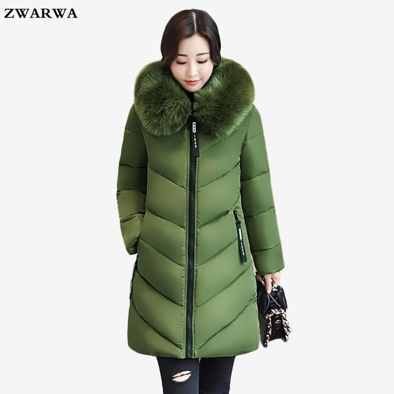 Women Winter Warm Cotton Coat Slim Hooded Zipper Parka Jacket Overcoat Outerwear