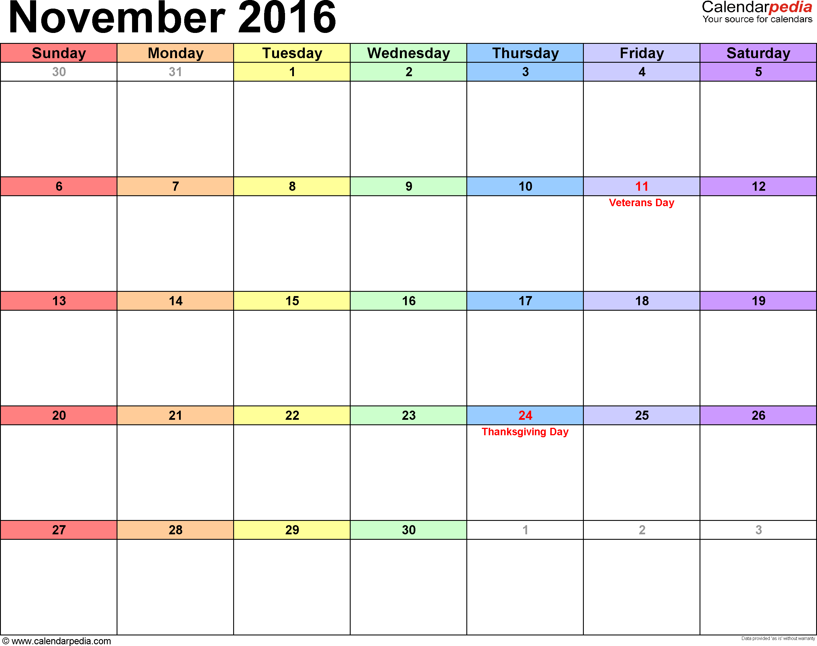 November 2016 Calendar Printable Template Calendars Pinterest