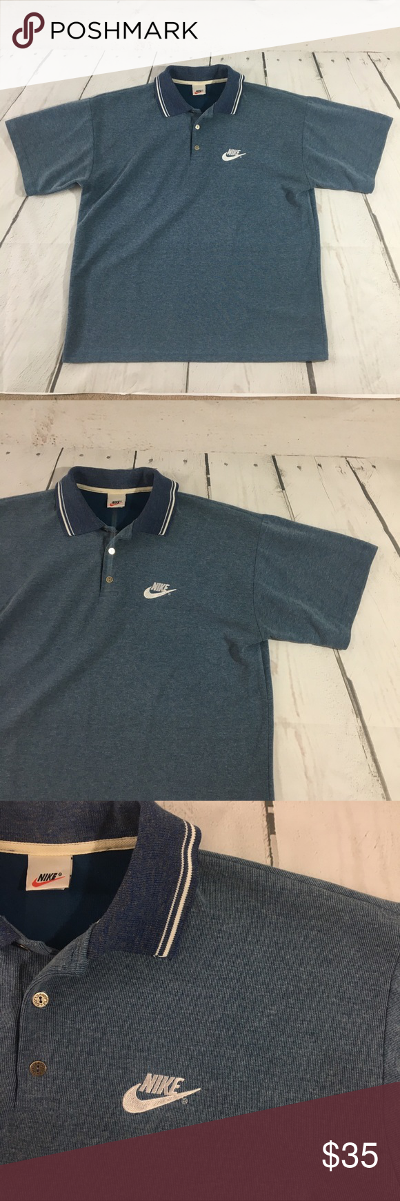 Vintage Nike Polo T Shirt 80s 90s Made In Usa Made In The Usa Vintage Lined Nike Polo Shirt Nike Swoosh Size Xl Grea Polo T Shirts Nike Polo Shirts Nike