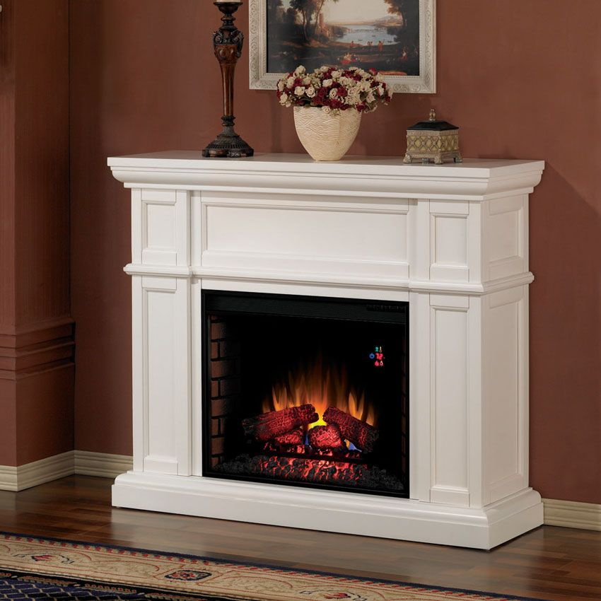 "Cabinets And Fireplace Surrounds: Artesian 28"" White Electric Fireplace Cabinet Mantel"