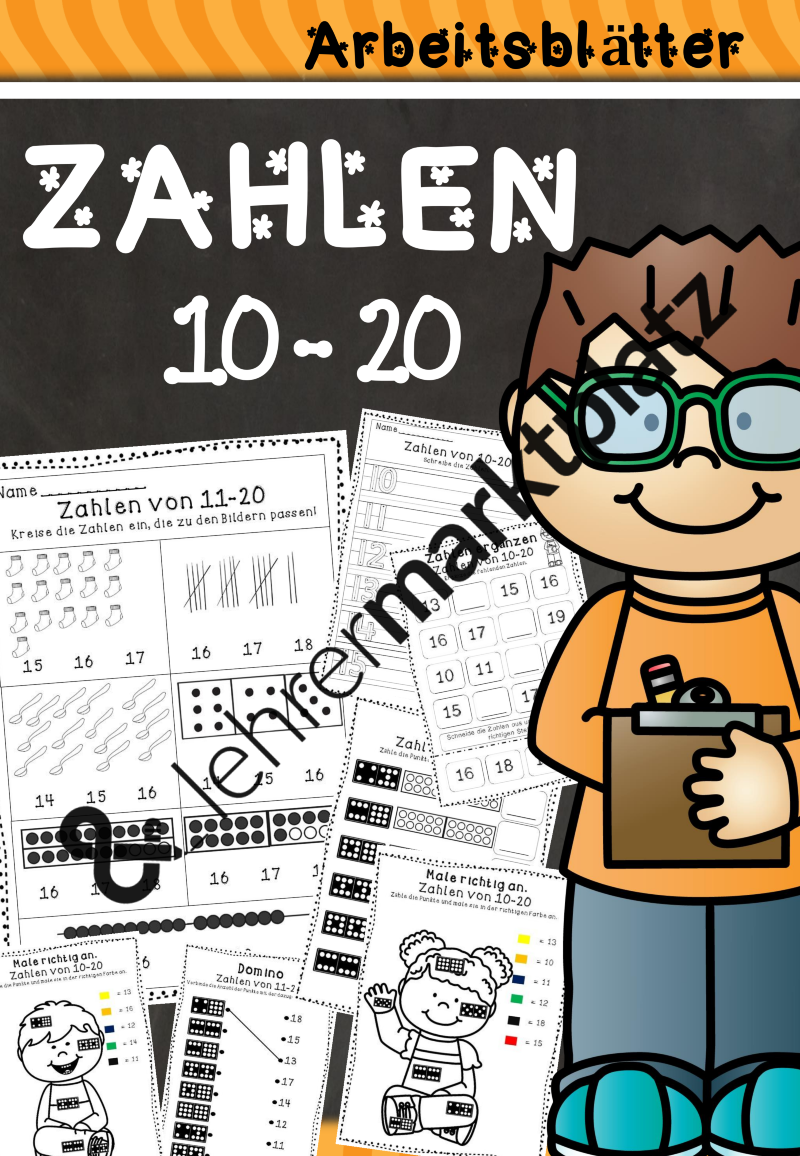 Zahlen von 10 - 20 Arbeitsblätter | Mathe in der Grundschule | Pinterest