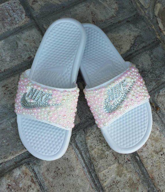 5137a799bd6c4 Bling Nike Slide Shoes - Bedazzled Slippers - Custom Nike Slides ...