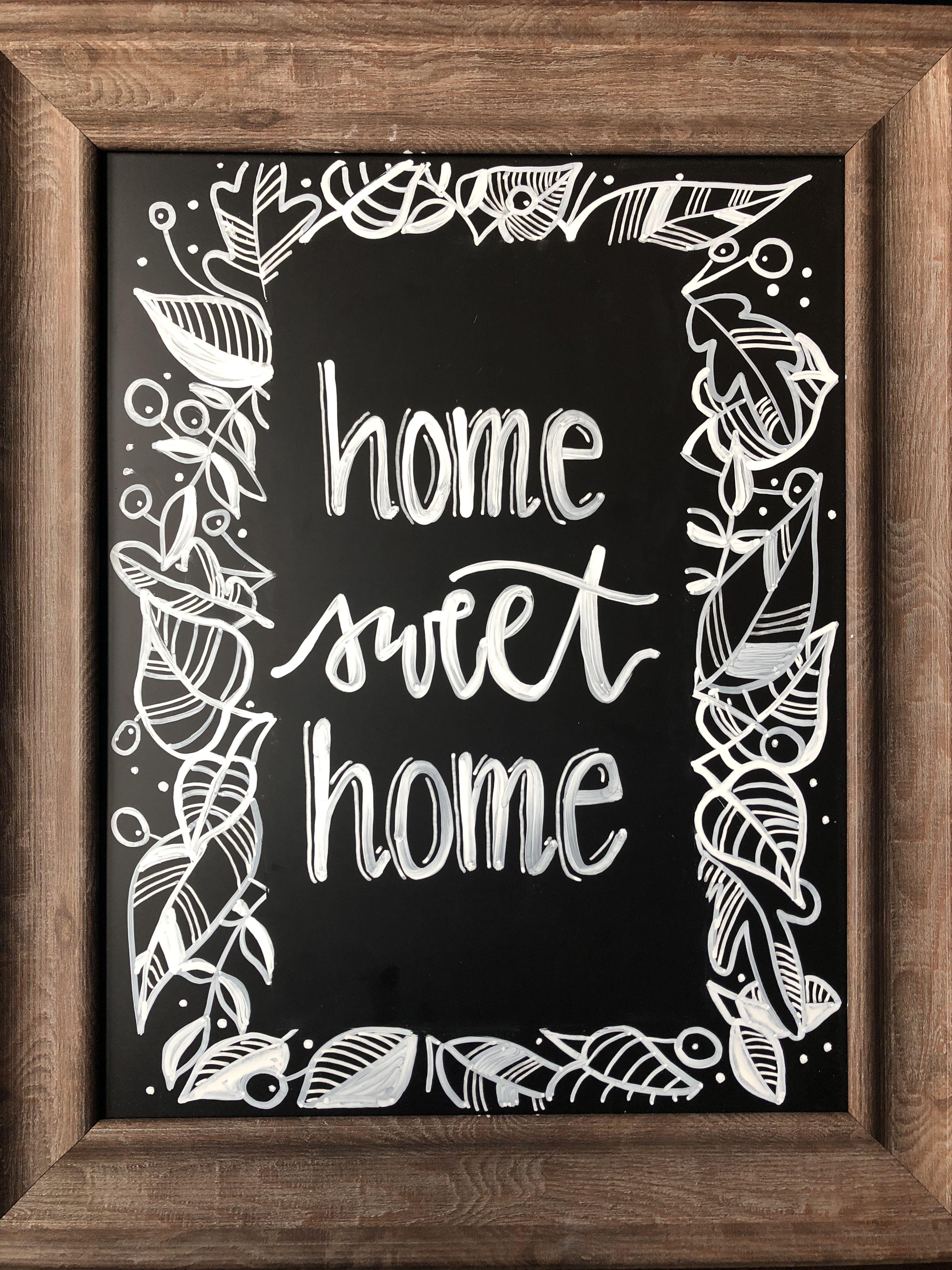 Home sweet home original chalkboard quote art art